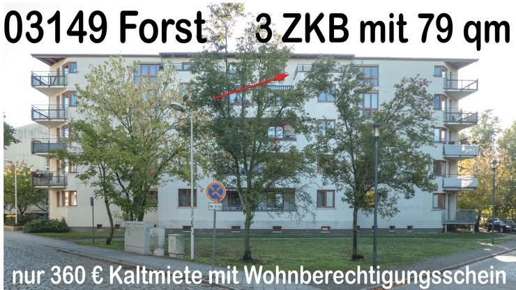 3 ZKb Mietwohnung mit Wohnberechtigungsschein in 03149 Forst Lausitz